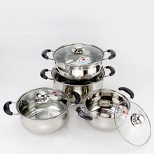 Non-Magnetic Stainless Steel hu xing guo Double Handles Double Bottom Pot Household Kitchen Kitchenware Multi-Purpose Soup Pot l