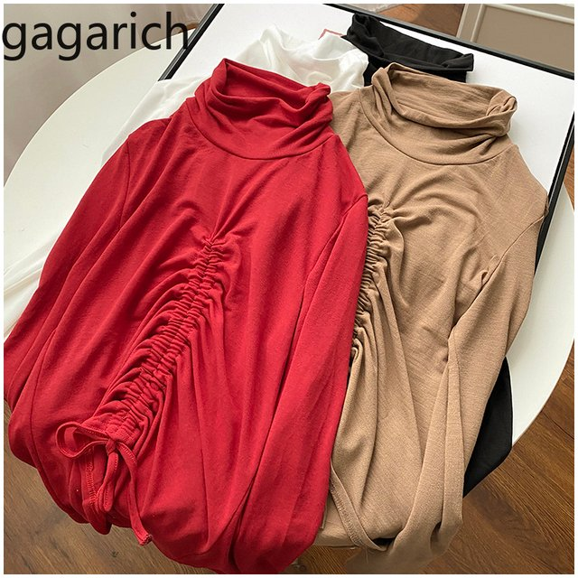 Gagarich Women Shirt High Collar Long-sleeved Female Fashion Spring New Style Solid Color Slim Fit Base Tops
