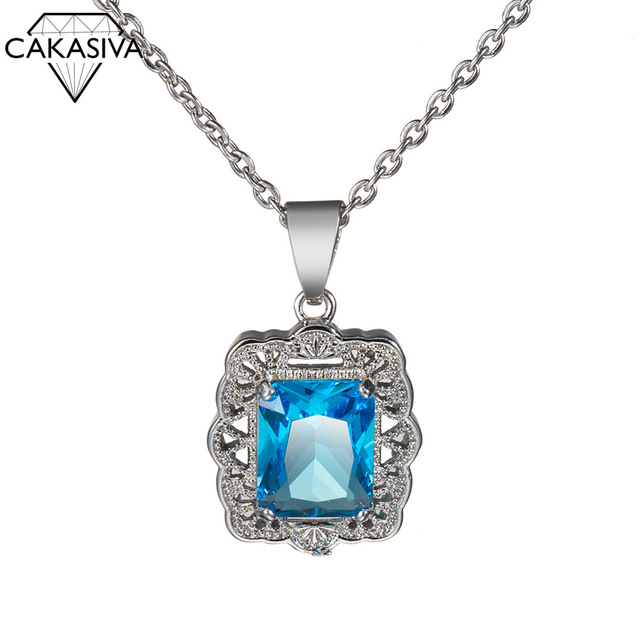 Women's 925 Silver Topaz Zircon Pendant Free Clavicle Chain Jewelry Necklace Birthday Festival Party Gift