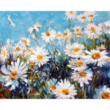 Frameless Chrysanthemum Daisy DIY Painting By Numbers Modern Wall Art Canvas Hand Painted Oil Painting For Home Decor 40x50cm