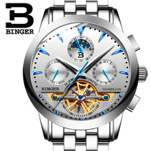 Switzerland BINGER Sport Watch Men Skeleton Automatic Self Wind Mechanical Watch Waterproof Full Steel Relogio Masculino 2019