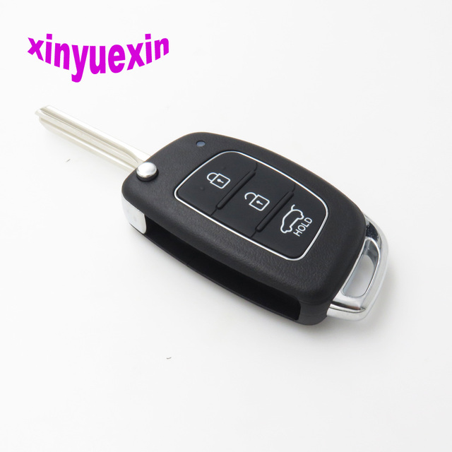 Xinyuexin Flip Remote Car Key Shell FOB Case For Hyundai HB20 Santa FE IX35 IX45 Accent I40 3 Buttons Replacement Case FOB Shell