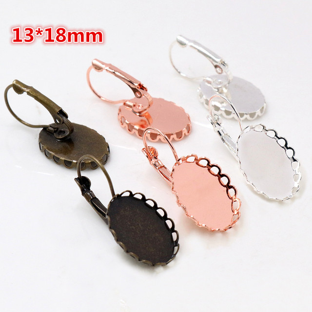 13x18mm 10pcs/lots 3 Colors plated French Lever Back Earrings Blank/Base,Fit 13x18mm Oval glass cabochons