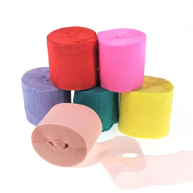 4.5cm*10m Origami Crepe Paper DIY Craft Wrinkled Paper Roll for Wedding Party Decoration Flower Wrapping Gifts Packing Material