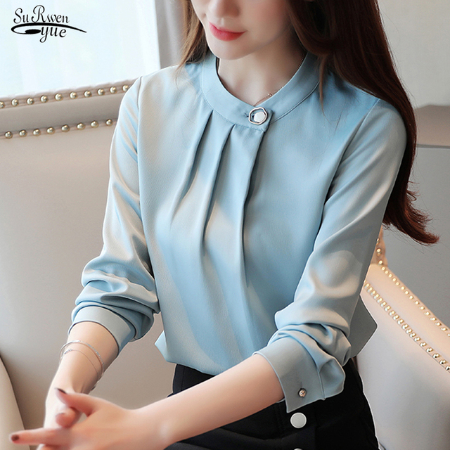 Camisas Mujer New 2021 Autumn Long Sleeve Solid Blouse Women Shirt Tops OL Vintage O Neck Pullover Women Blouse Clothes 7161 50