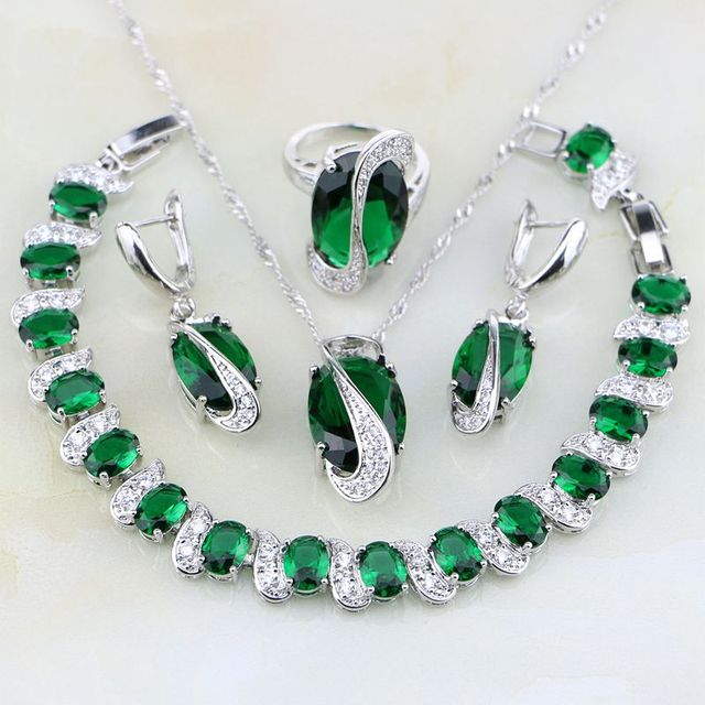 925 Sterling Silver Jewelry Green Cubic Zirconia White CZ Jewelry Sets For Women Wedding Earring/Pendant/Necklace/Bracelet/Ring