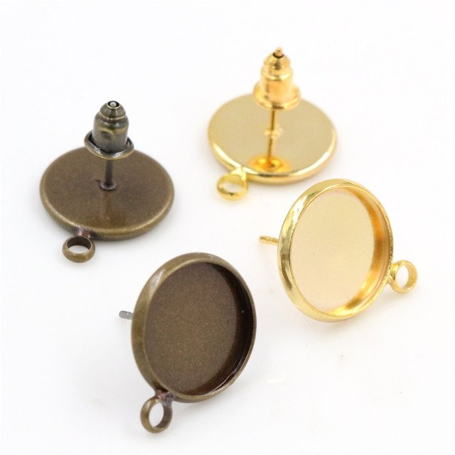 12mm 10pcs Antique Bronze And Gold Color Earring Studs,Earrings Blank/Base,Fit 12mm Glass Cabochons,Buttons;Earring Bezels