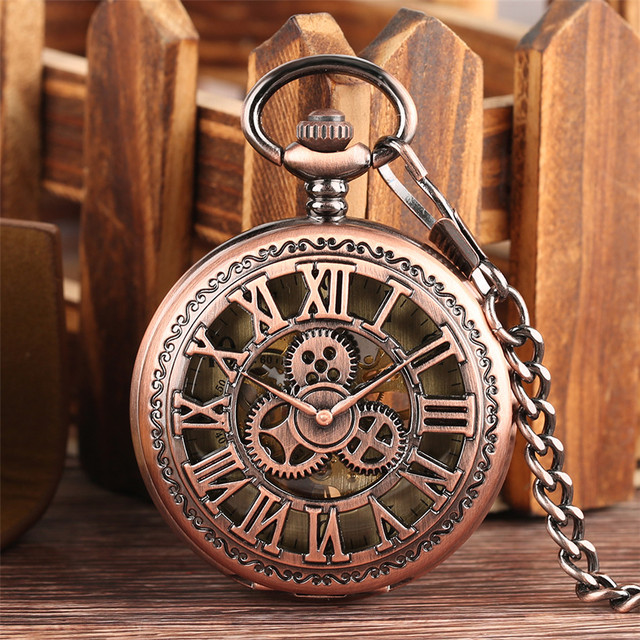 Rose Gold Hollow Gear Display Mechanical Hand Winding Pocket Watch Antique Manual Pendant Pocket Clock Xmas Gifts 2020