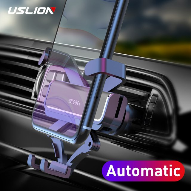 USLION Gravity Car Phone Holder in Car Air Vent Clip Mount No Magnetic Support Cell Phone GPS Stand For iPhone 11 XS MAX Xiaomi