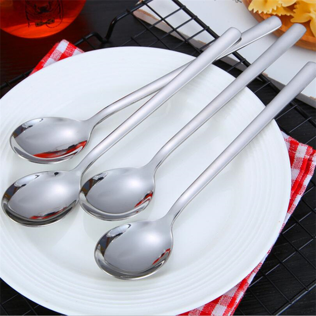 Stainless Steel Tea Coffee Spoon Long Handle Cocktail Ice Cream Soup Spoons Cutlery Home Kitchen Dining & Bar Flatware