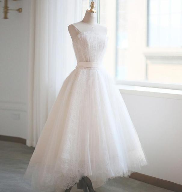 Romantic High Low Wedding Dresses 2020 Strapless Ruched Tulle Lace Short Front Long Back Informal Outdoor Bridal Gown