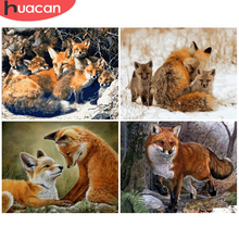 HUACAN Oil Painting Animal Drawing Canvas Acrylic Handpainted Wall Art Pictures By Number Fox Winter Gift Home Decor
