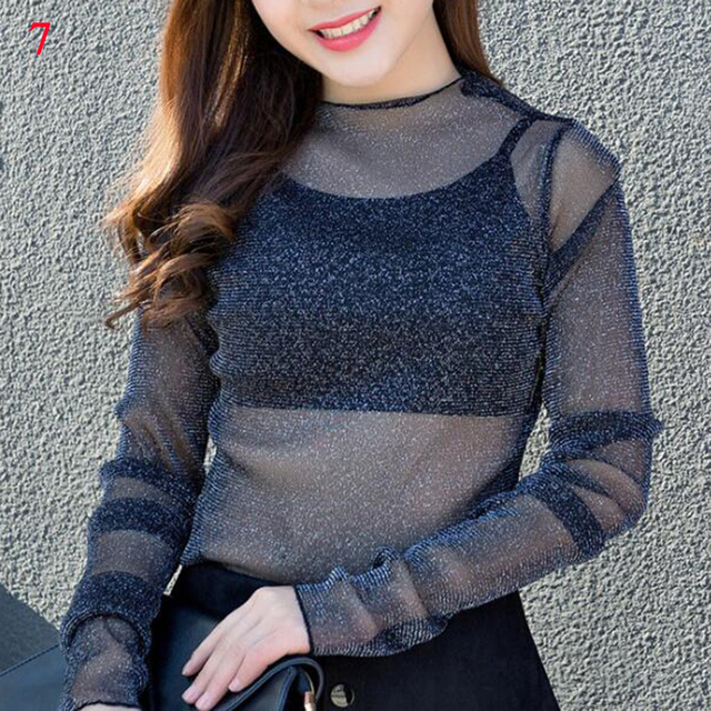 Women Mesh Net Blouse Sheer Long Sleeve Ladies Shirt Black Sexy Tops Womens Clothing Summer Female Solid Colour Blouses