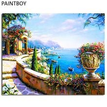 Seascape Frameless Picture DIY Painting By Numbers Handwork Canvas Oil Painting Home Decor For Living Room Wall Art GX7197