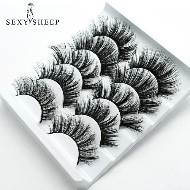 SEXYSHEEP 5pair 3D Faux Mink Eyelashes Natural False Lashes Wispy Makeup Beauty Extension Tools maquiagem faux cils