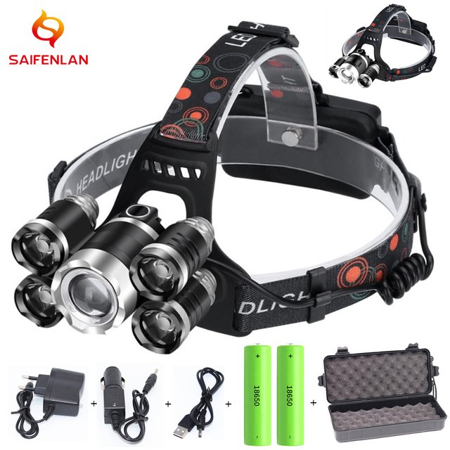 High Lumens ZOOM LED Headlight Headlamp LED T6 Head Lamp Flashlight Torch Head Light 18650 battery For Camping, Fishing