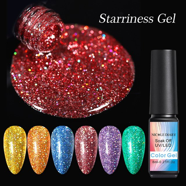 NICOLE DIARY 8ml Sparkling Glitter Nail Gel Polish Sequins Soak off Bling UV LED Gel varnish Varnish Shinning Gel