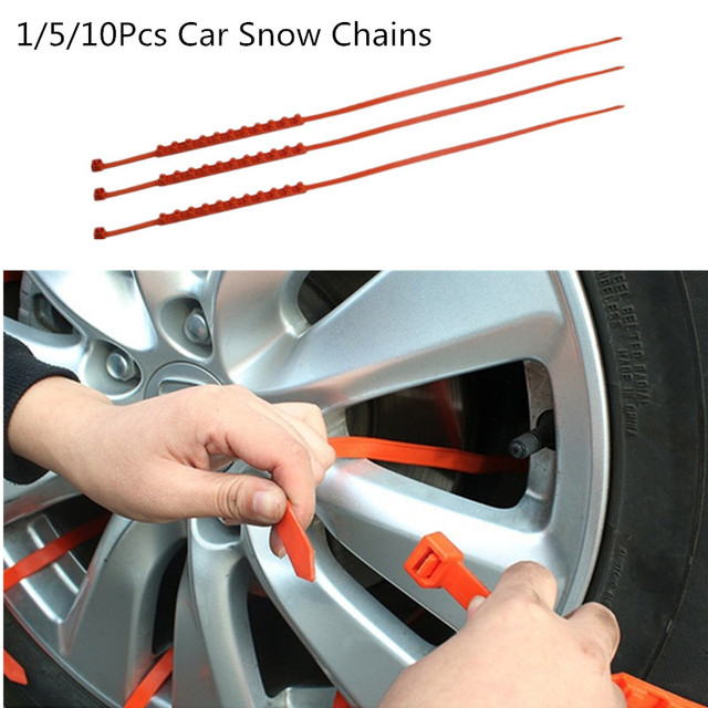 10Pcs Car Tire Wheels Emergency Chain Mini Plastic Anti-Skid Snow Chains for Ice Snow Mud Sand Road Safety Driving Outdoor