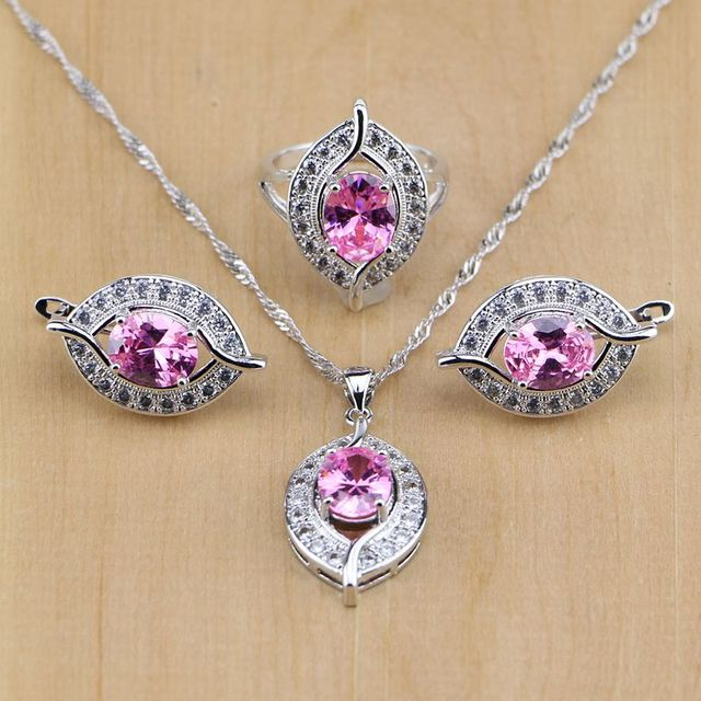 Eye Shaped Pink CZ 925 Sterling Silver Jewelry Sets For Women Earrings/Pendant/Necklace/Ring Free Shipping&Gifts Box