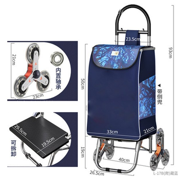 For elderly Upstair shopping cart trolley large item trolley cart folding trailer trolley household portable women shopping bags