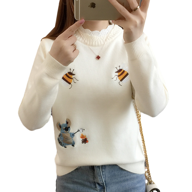 Fashion New 2020 Autumn Women Sweater Pullover Winter Tops Korean Embroidery Little Bee Loose Warm Knitwear Jumpers Ladies D2531