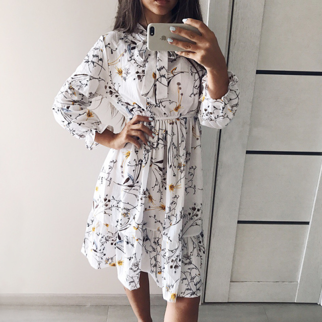 2020 Winter Dress Women Long Sleeve Vintage Dress Chiffon Shirt Vestidos For Ladies Casual Floral Midi Autumn Dresses Polka Dot