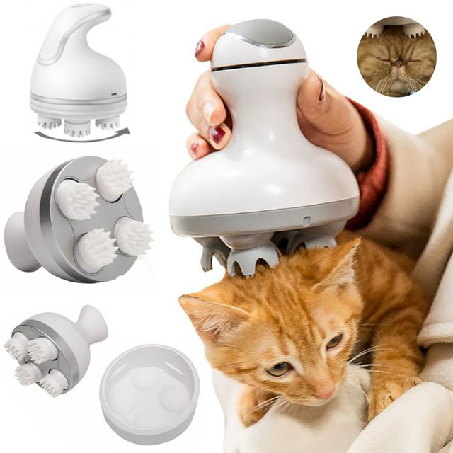 Intelligent Charging Pet Cat Massager 3D Head Massager Cats Automatic Rotate Waterproof Electric Dragon Claw Han Cleaner Dust