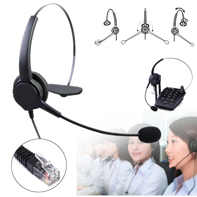 Telephone Headset Call Center Operator Crystal Head Hands-free Noise Cancelling Headphone With Micro for Telephone