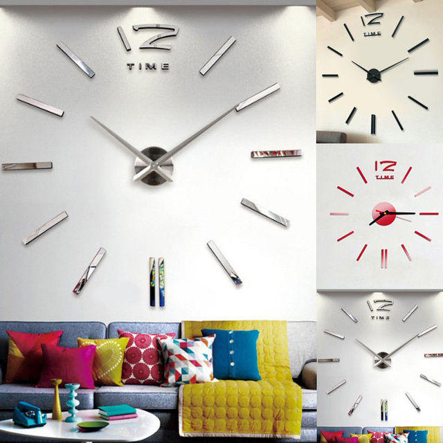 Hot sale Wall Clock Modern Design DIY Analog 3D Mirror Surface Large Number Wall Clock Europe Acrylic Sticker Home Decor