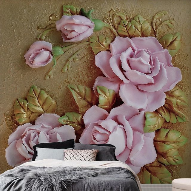 Custom Photo 3D Stereoscopic Non-woven Embossed Floral Flowers Wall Murals Wallpaper For Living Room Bedroom Walls Home Decor