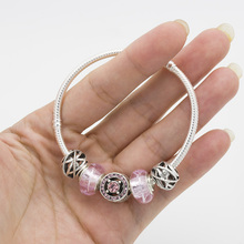 pink Glass beads bracelet set plated silver women charm bracelets bracelet  Gift charm bracelet  DIY Jewelry wholesale