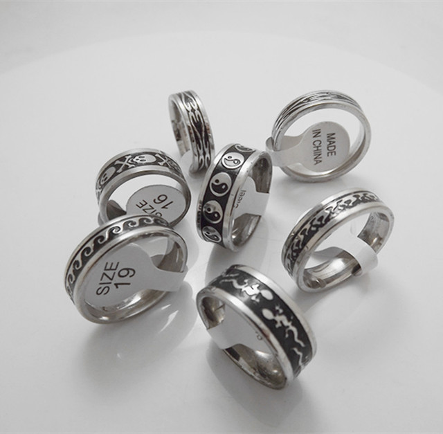 Wholesale 50 pcs 4mm 6mm Fashion Black Antique Stainless steel Couple Rings