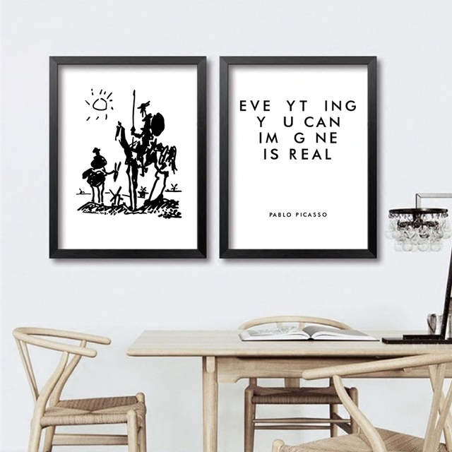 Everyhing you can image is real Picasso Canvas Art Prints Famous Drawing Don Quixote Painting Wall Pictures Living Room Decor