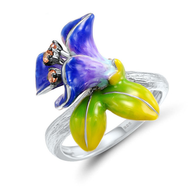 MOONROCY Silver Color Bohemia Rings Colourful Flower Plants Hyperbole for Women Girls Gift Dropshipping Party Jewelry Wholesale