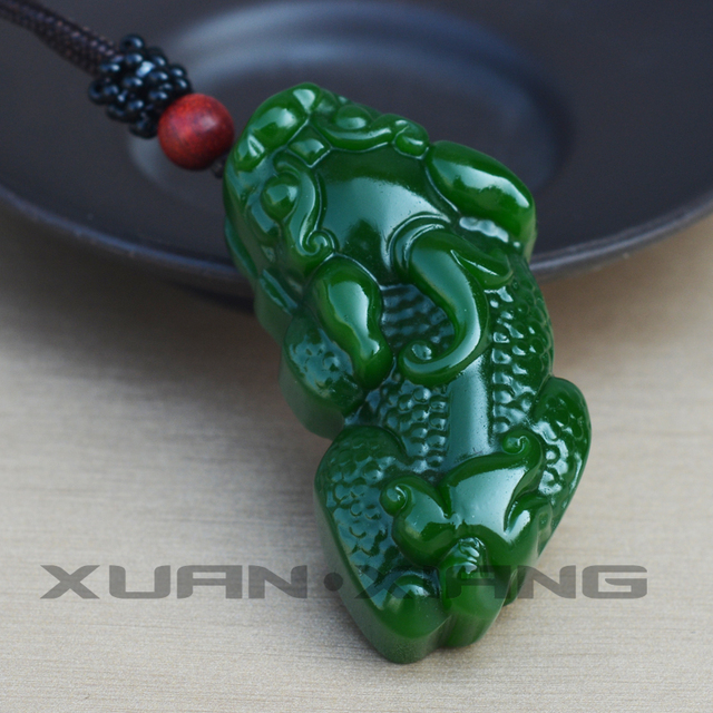 Natural Green Nephrite Carved Double Pi Xiu Brave Pendant Lucky  Necklace Amulet Pendants Good blessing fashion Jades Jewelry
