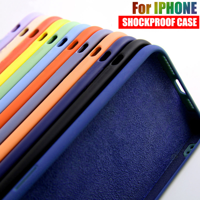 Liquid Silicone Shockproof Cases For iPhone 12 Mini 11 Pro Max 7 8 6S Plus Candy Color Soft Cover For iPhone SE 2020 X XS MAX XR