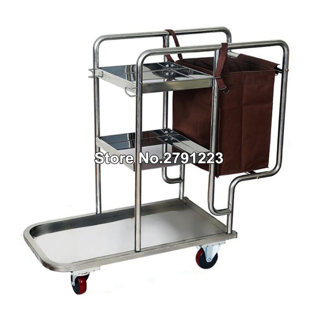 Stainless Steel 3 Shelf Janitor Cart With Cloth Bag Housekeeping Cart Hotel Mute Wheel Commercial Hotel Cleaning Cart