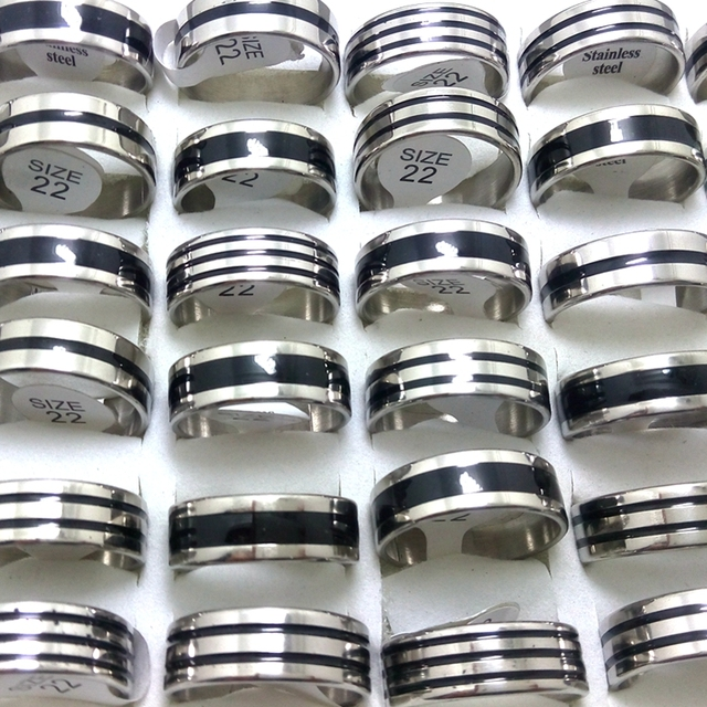 25pcs Enamel Black Mix Stainless Steel Fashion Rings for Men Wholesale Jewelry Lots