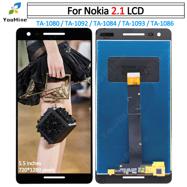 for Nokia 2.1 TA-1080 LCD Display Touch Screen Digitizer TA-1092 TA-1084 Assembly Replacement for Nokia 2.1 LCD Repair Parts