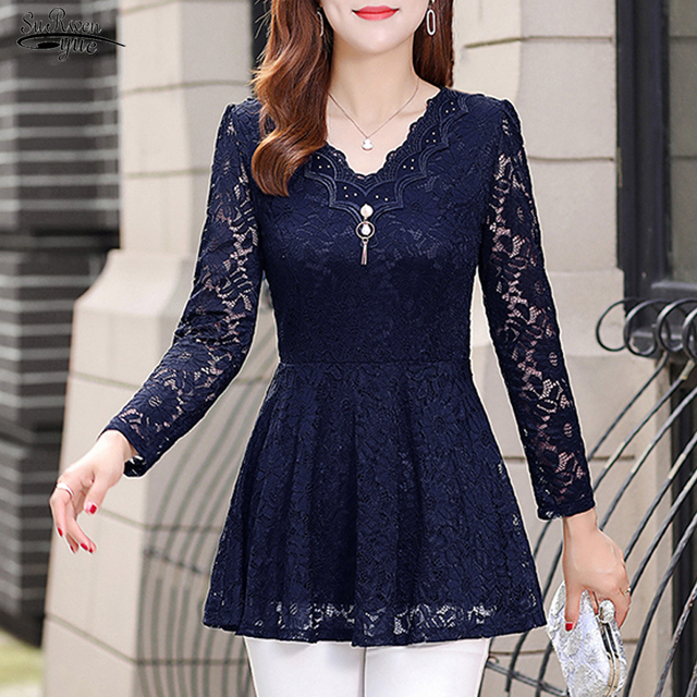 2021 New Long Sleeve Solid Lace Blouse Women Shirt OL Sexy Floral Plus Size Pullover Lace Women Shirt Tops Camisas Mujer 6827 50