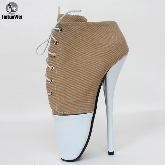 """Brand New Summer style 7"""" Spike High Heel Ballet Pumps sexy Fetish Thin heel lace-up Dance Party Nightclub shoes plus size"""