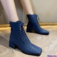 Autumn Women Casual ankle Martin boots women shoes platform Square Toe Comfort lace-up Winter warm snow boots mujer zapato