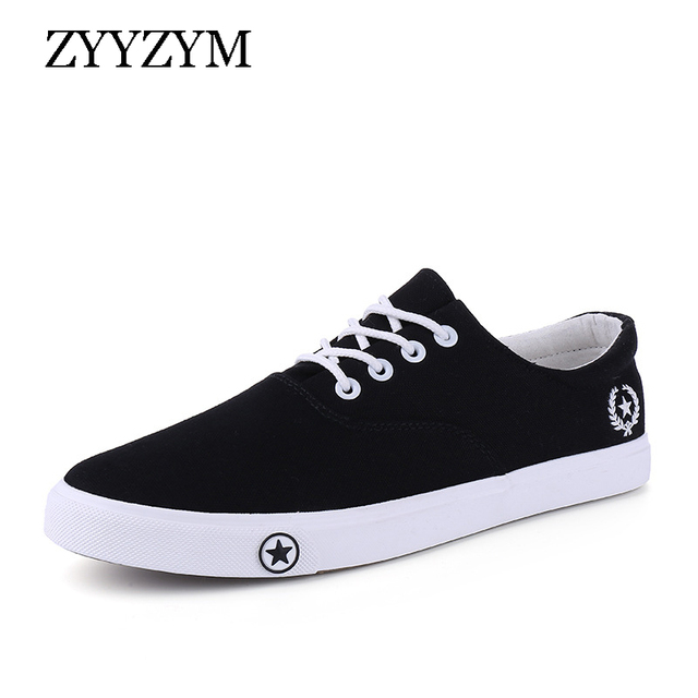 ZYYZYM Men Canvas Shoes Lace-Up Unisex Style Light Breathable Fashion Sneakers Flat Lovers Student Shoes