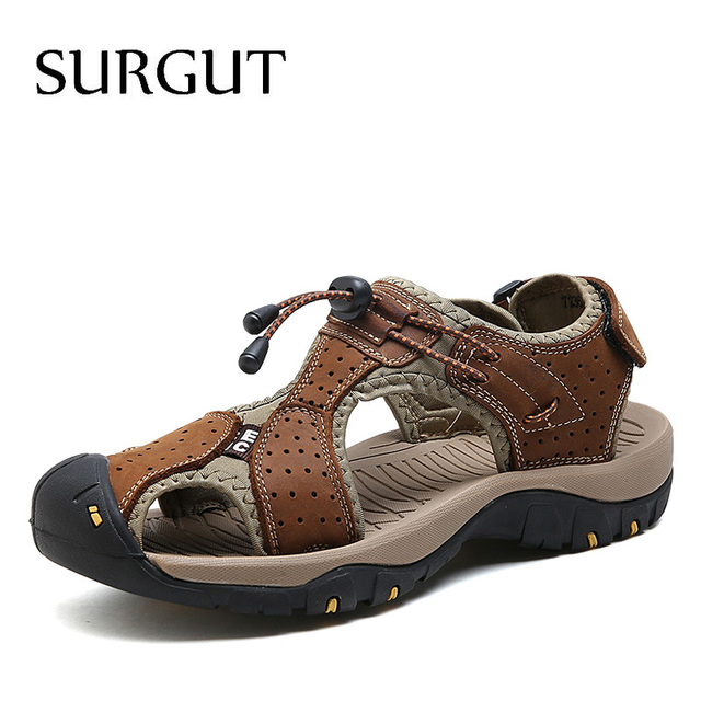 SURGUT Men Sandals Genuine Leather Cowhide Male Summer Shoes Quality Beach Slippers Casual Leather Gladiator Sandals Size 38~46