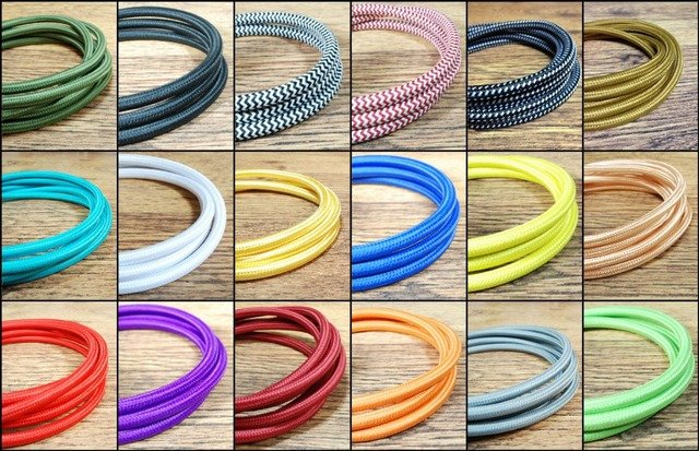 2m,3m,5m, or 10m/lot VDE certified 2 core Round Textile Electrical Wire Color Braided Wire Fabric Cable Vintage Lamp Power Cord