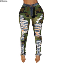 2019 New Autumn Winter Female Denim Pants Women Skinny Hole Spliced Camouflage Print Jeans Sexy pencil Bandage Trousers HSF2096
