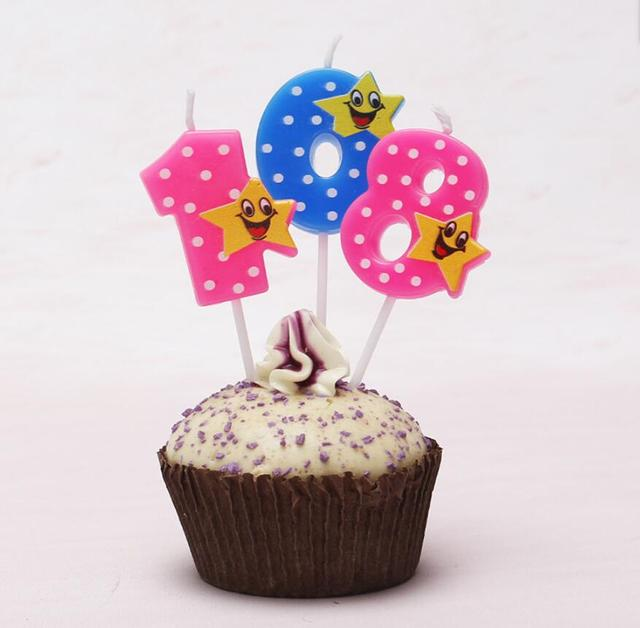 Hot Sale 10pcs/L Creative 0-9 Lovely numbers with Star kids birthday cake numbers candles children birthday cake decoration