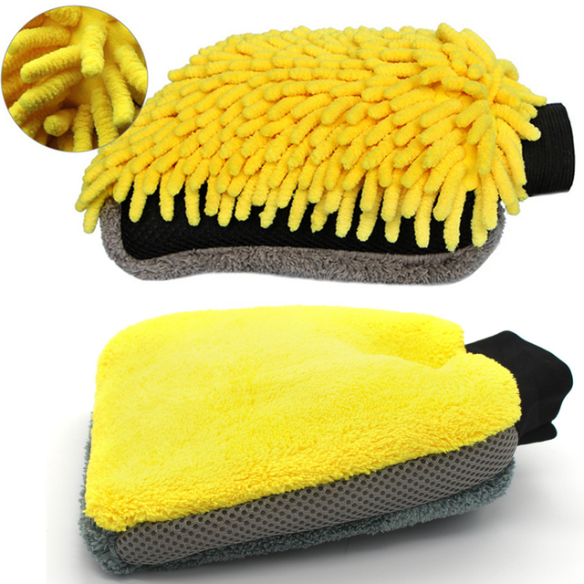 1Psc Double-sided Coral Cashmere Car Wash Glove Cleaning Mitt Short Wool Mitt Car Washing Brush Cloth Detergency Car Wash Glove