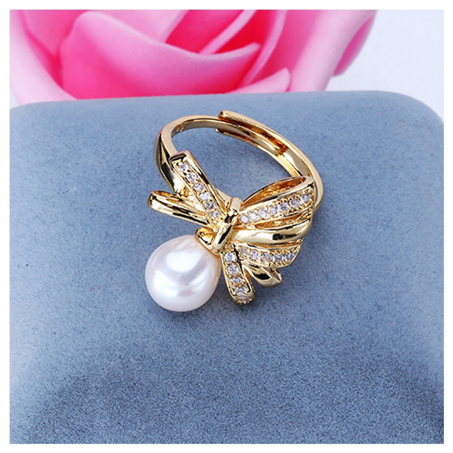 Hot Popular ADJUSTABLE Charm Real Freshwater Pearl Ring Finger Ring Jewelry Nice Party Gift Present to Friend Lover