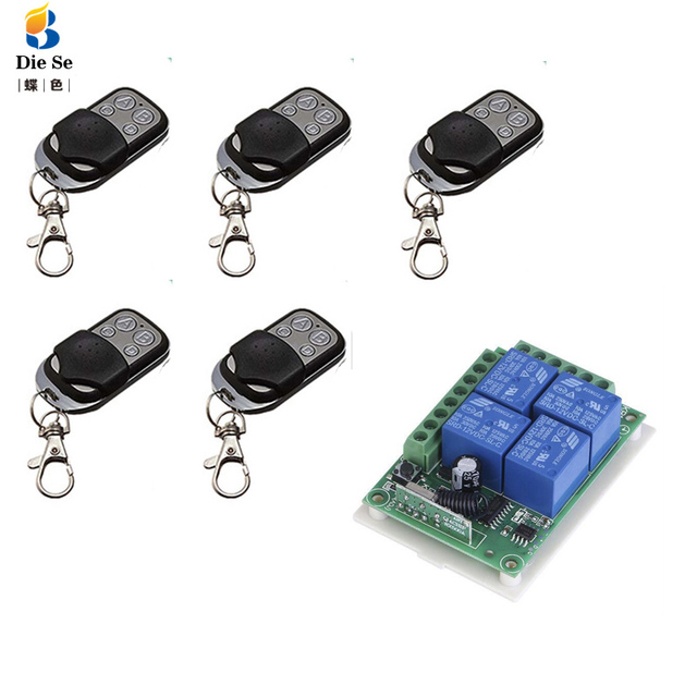433Mhz Universal Wireless Remote Control Switch DC 12V 4CH Relay Receiver Module and 433 Mhz 4 Channel Remote Controls